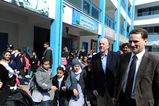 Minister for Foreign Affairs and Trade Charlie Flanagan with UNRWA Commissioner General Pierre Krahenbuhl while visiting a UN school in Gaza, February 2015