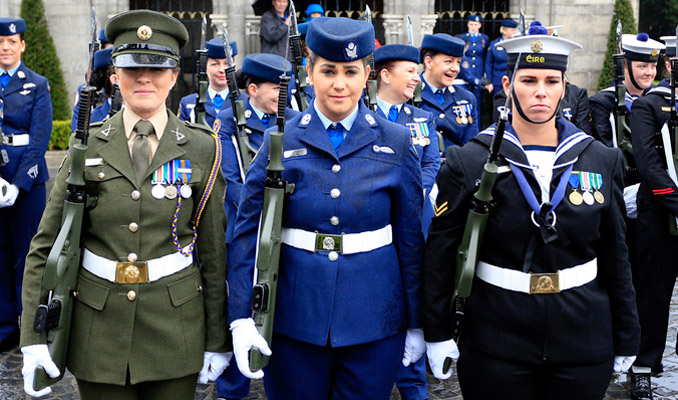 Exclusively all female Guard of Honour, drawn from women of all ranks and skill sets serving in the Army, Navy and Air Corps