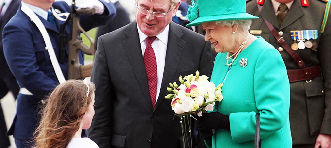 Her Majesty Queen Elizabeth II and His Royal Highness The Duke of Edinburgh pictured at St. Patrick's Rock,Cashel,County Tipperary,on their State Visit to Ireland