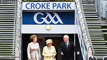 Her Majesty Queen Elizabeth II pictured at Croke Park on their State Visit to Ireland with President Mary McAleese  and Christy Cooney ,President of the Gaelic Athletic Assocation.