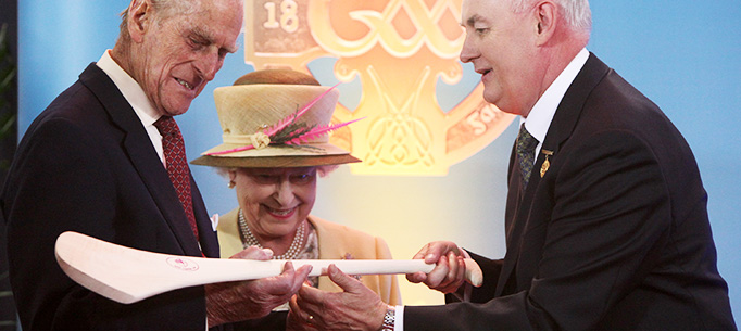 Her Majesty Queen Elizabeth II and His Royal Highness The Duke of Edinburgh pictured at Croke Park in Dublin, where they were presented with a Hurley and sliotar by the President of the GAA, Christy Cooney.