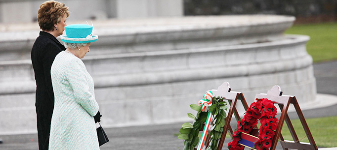 The Queen and President Mary McAleese lay wreaths at the Irish War Memorial