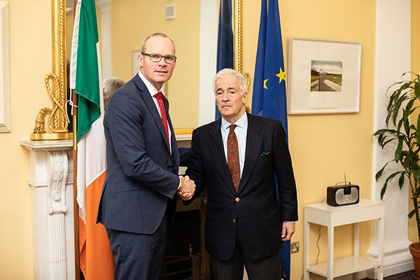 Tánaiste and Minster for Foreign Affairs and Trade, Simon Coveney T.D., and EU Special Representative for the Horn of Africa, Alexander Rondos, in the Tánaiste's office in Leinster House in 2018